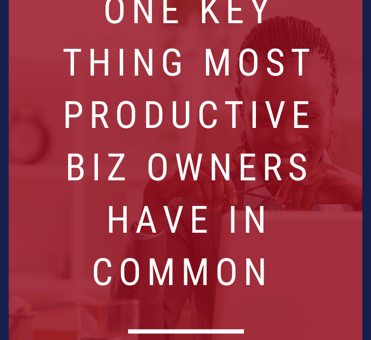 1 Key Thing Most Productive Biz Owners Have in Common